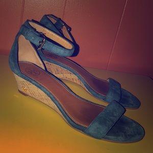 Tory Burch Blue Suede & Cork Wedge Sandal 8M
